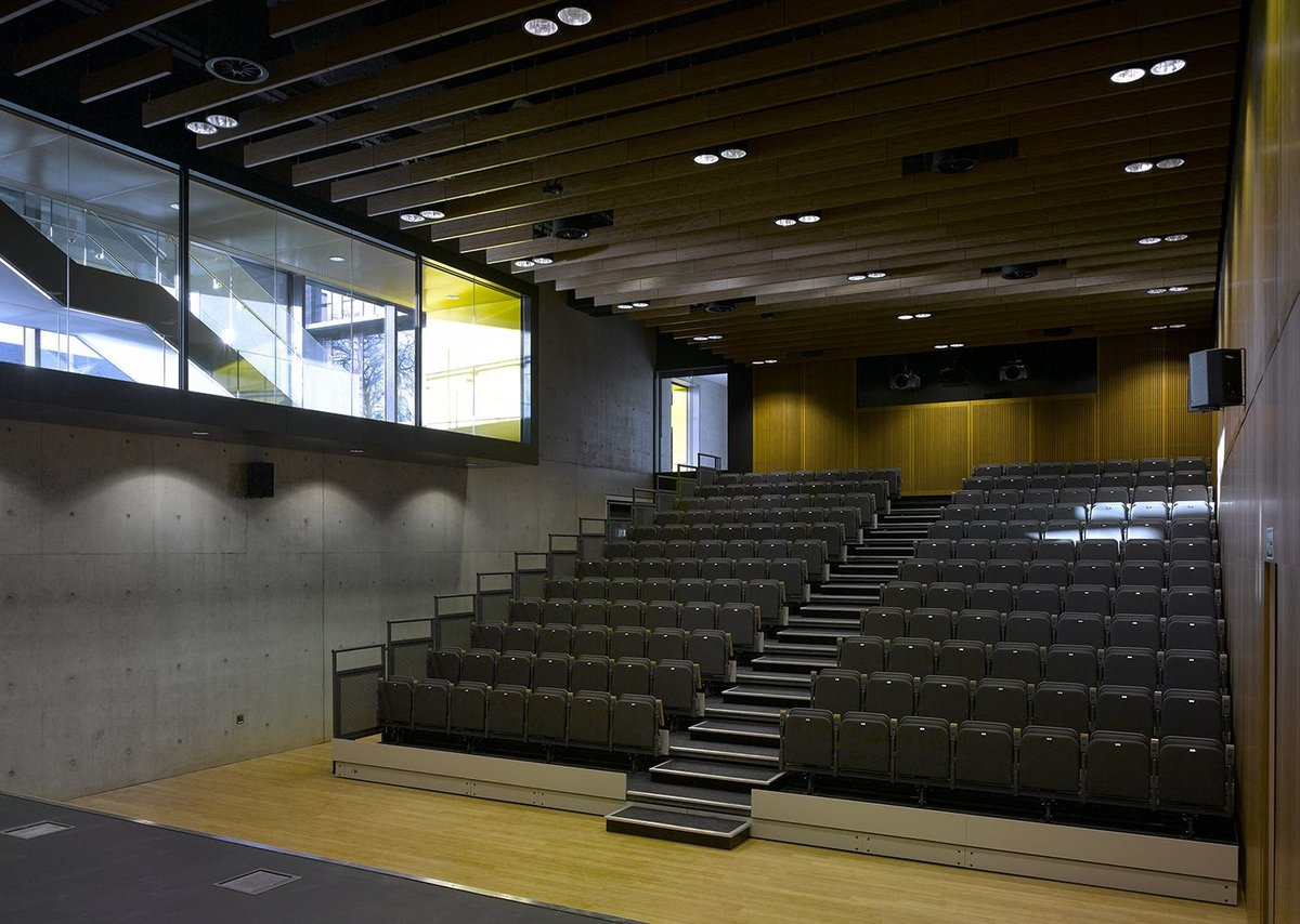 Left Inside the lecture theatre: visual connection is made with the rest of the complex.