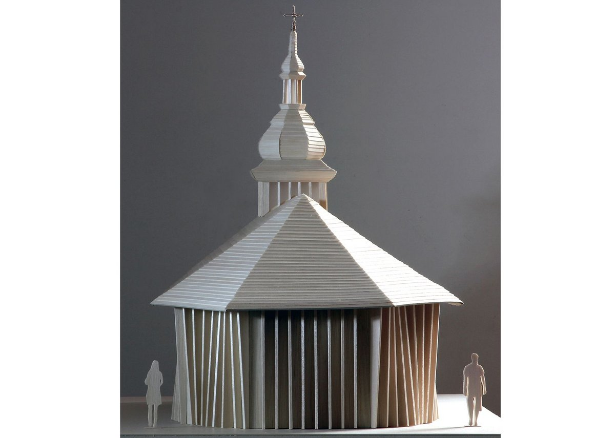 Model showing the rear of the wooden church and its distinctive cupola.
