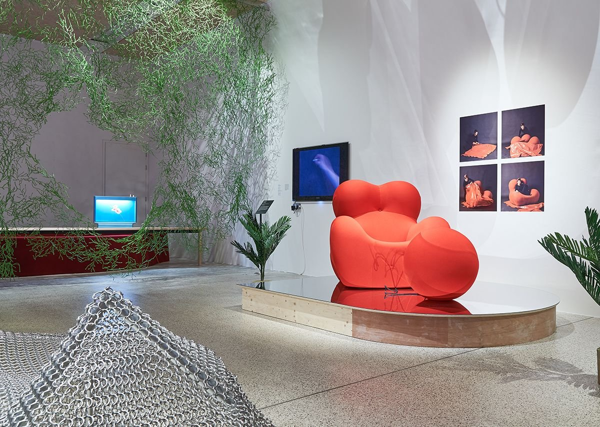 Installation view of Home Futures showing Gaetano Pesce for B&B Italia's Up 5_6 armchair with ottoman, 1969 (reissued 2000)