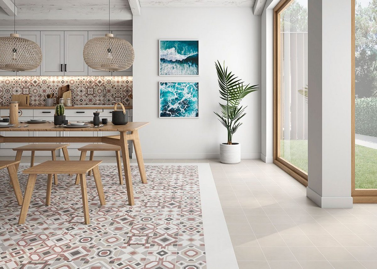 City Folk by Saloni is a porcelain floor tile with significant recycled content.