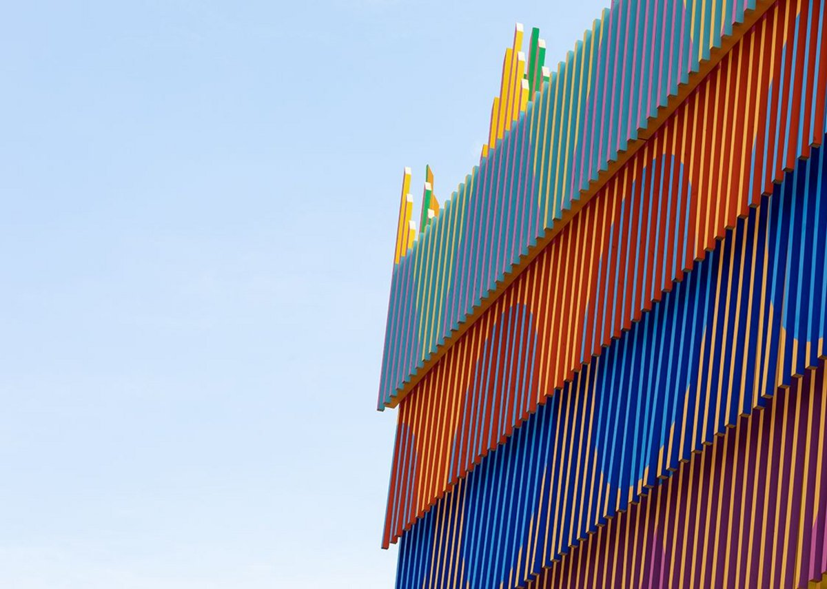 Detail of the painted battens that clad the Colour Palace, a summer pavilion designed by Pricegore and Yinka Ilori at the Dulwich Picture Gallery, 2019.