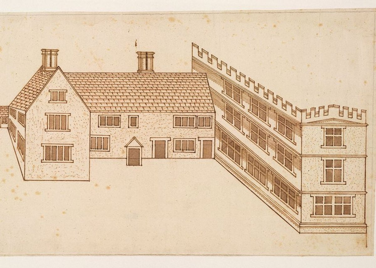 John Smythson, Design for a house with a castellated wing, perspective view, 1600.