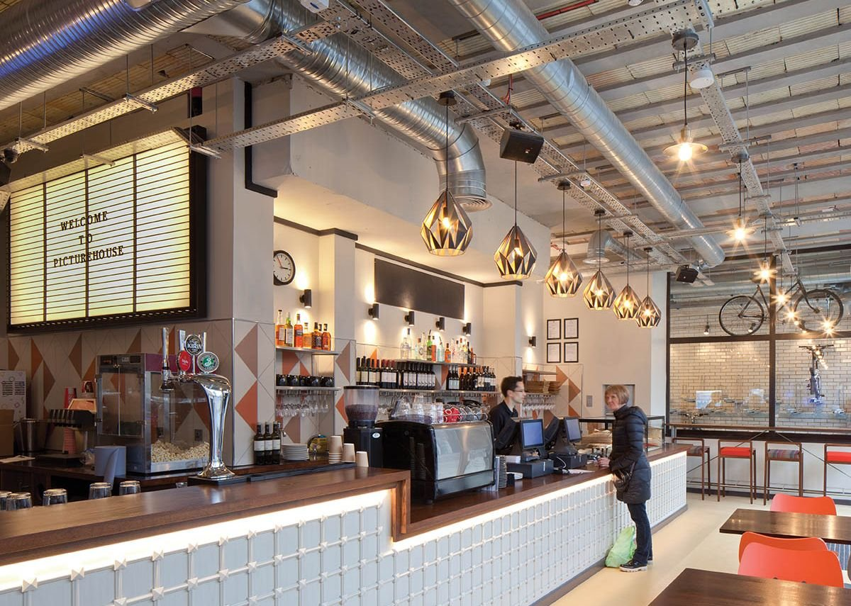 There's an industrial feel to the café-bar in the ground floor foyer...