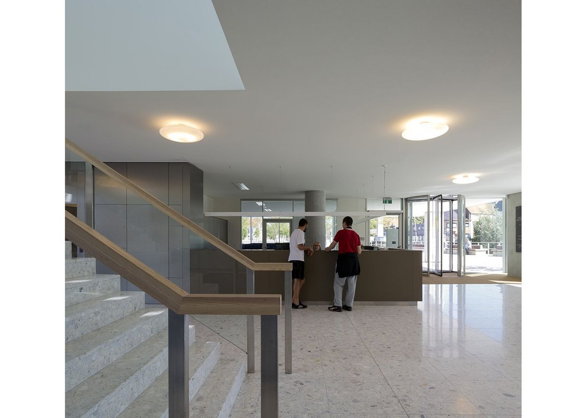 Entrance foyer with stair to council chamber above.