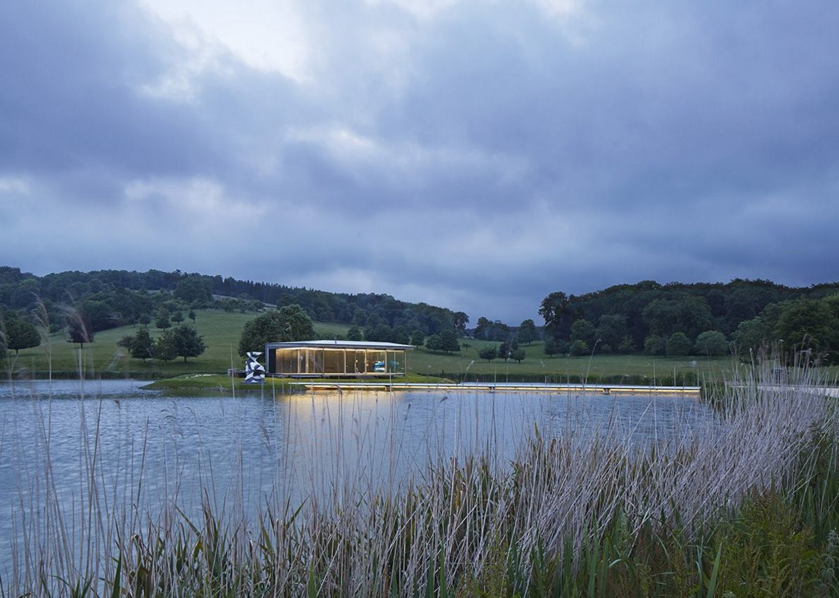 The Island Pavilion and Footbridge at Wormsley – an exquisitely detailed and fabricated structure in an Arcadian landscape. Robin Snell and Partners with steelwork by Sheetfabs (Notts).