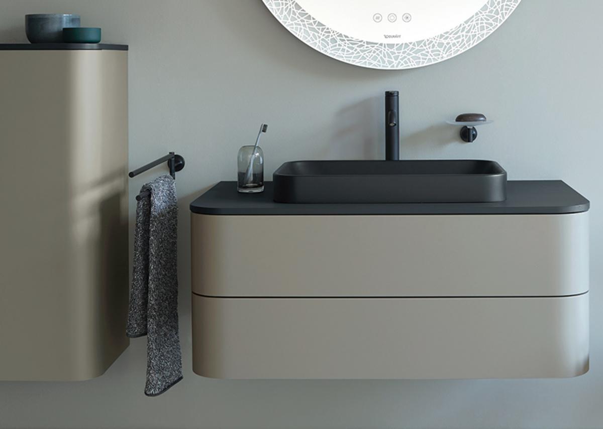 Happy D.2 Plus above-the-counter basin (600x400mm), console in Graphite Super Matt, console vanity unit and semi-tall cabinet in Stone Gray Satin Matt, C.1 tap and Starck T accessories in Black Matt.
