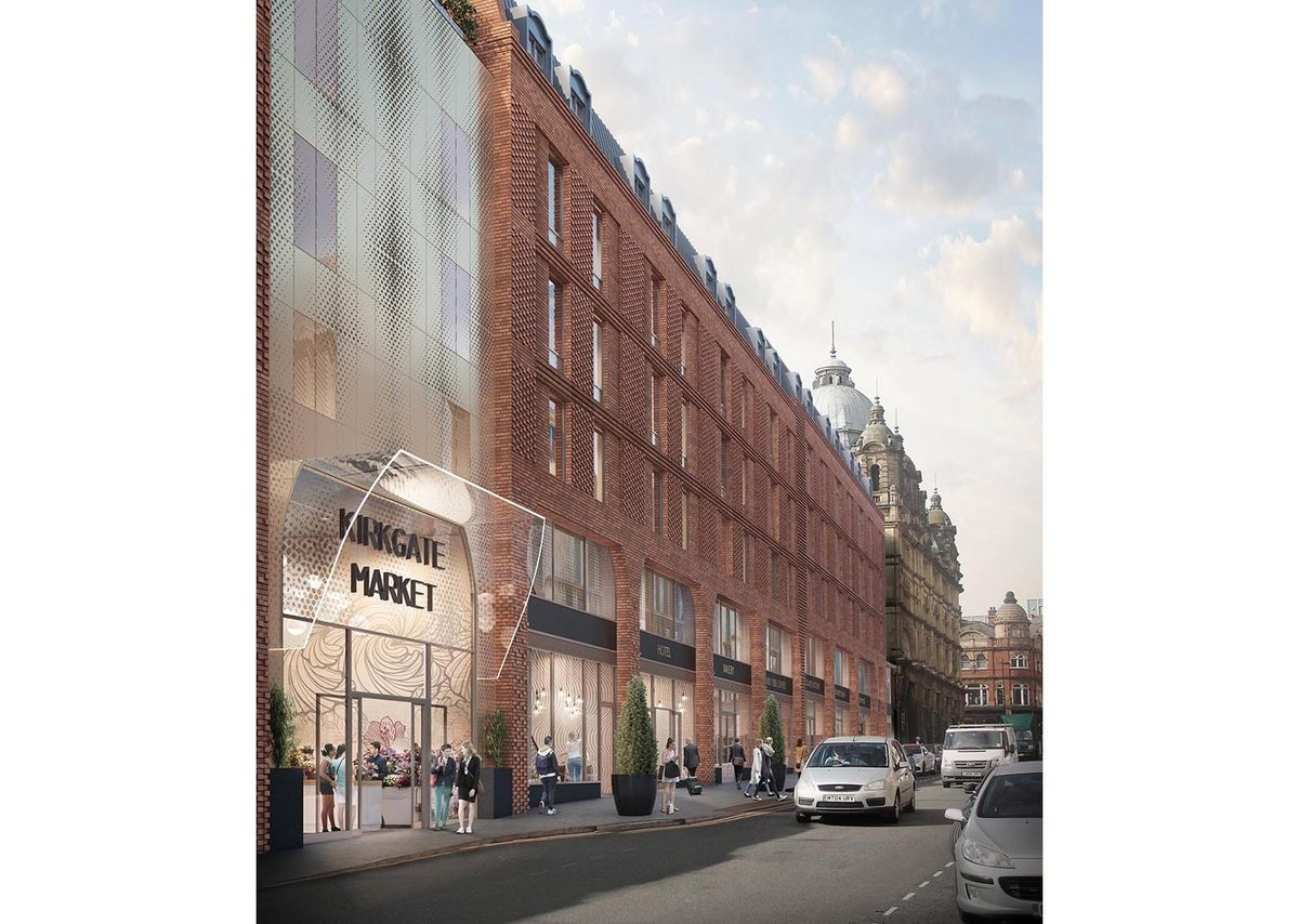 Carey Jones Chapman Tolcher's proposed retail and aparthotel on George Street in central Leeds. The proposal forms the northern edge of Kirkgate Market.