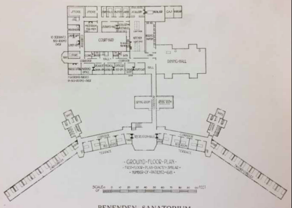 West's plan for Benenden sanatorium.