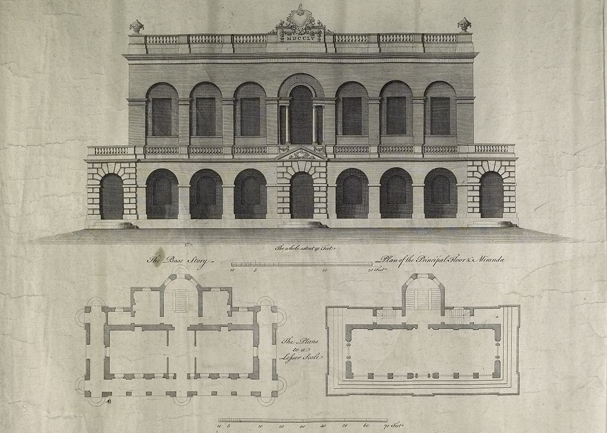Design for John Carr grandstand, c1754, from Lincolnshire Archives.