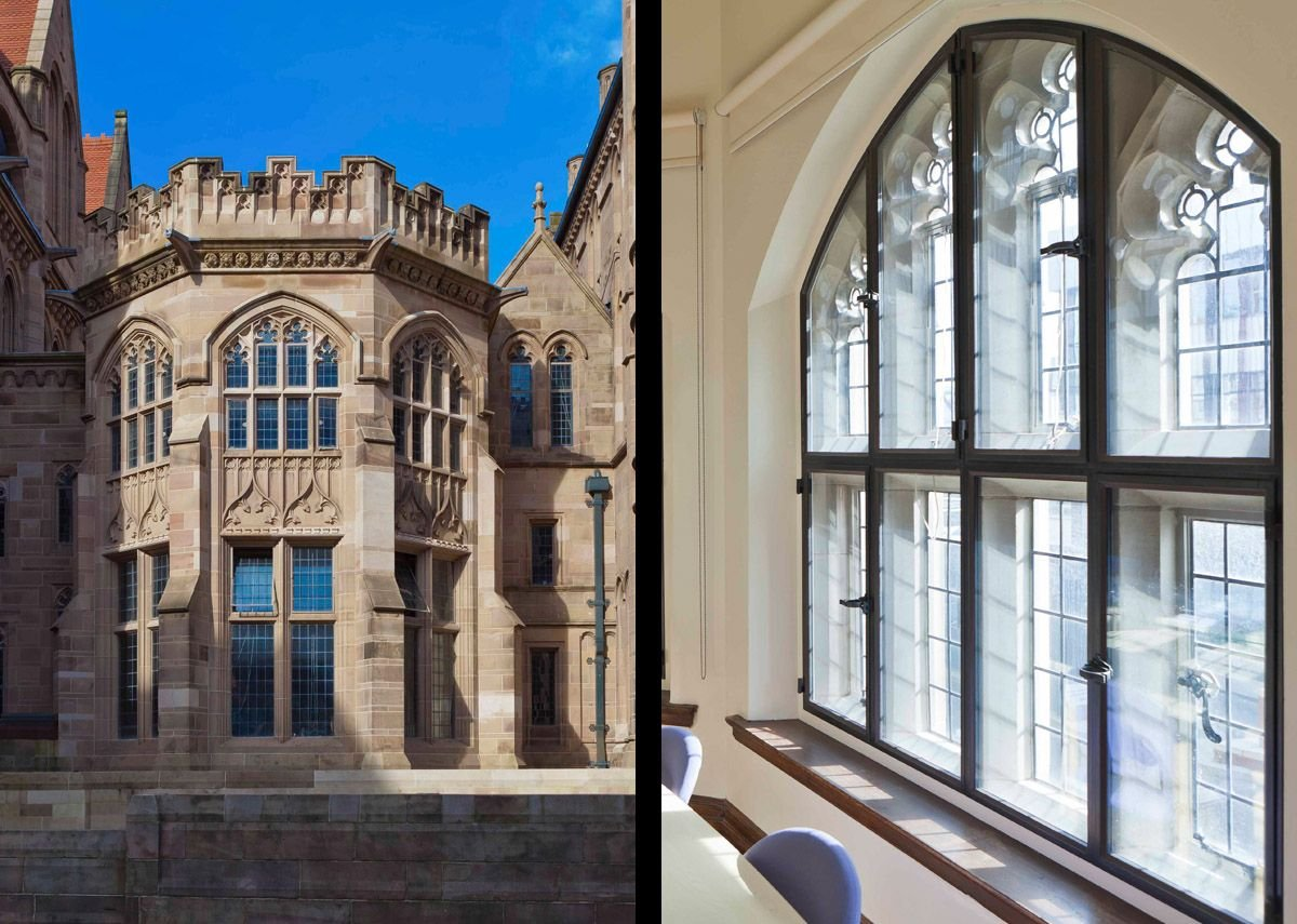 Architectural Bronze Casements' bronze secondary glazing at the Grade II listed Christie Library, University of Manchester. Lloyd Evans Prichard architects.