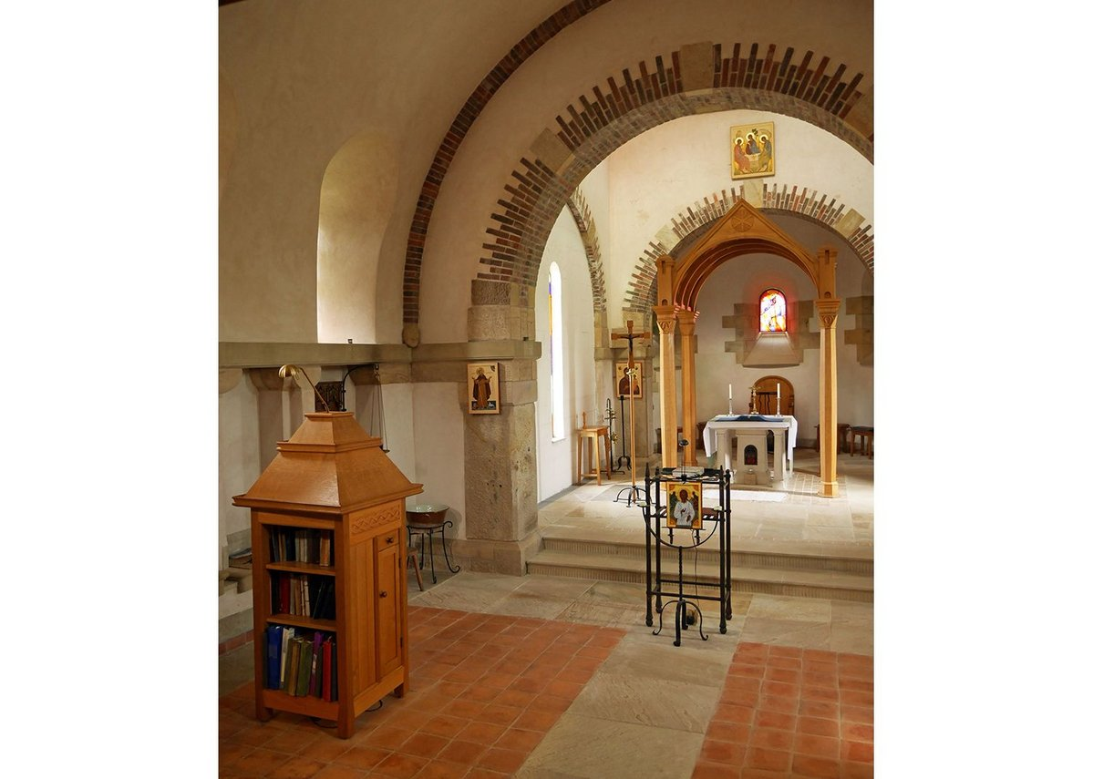 A sophisticated interior with finely made furnishings and an altar modelled on  Roman precedents.