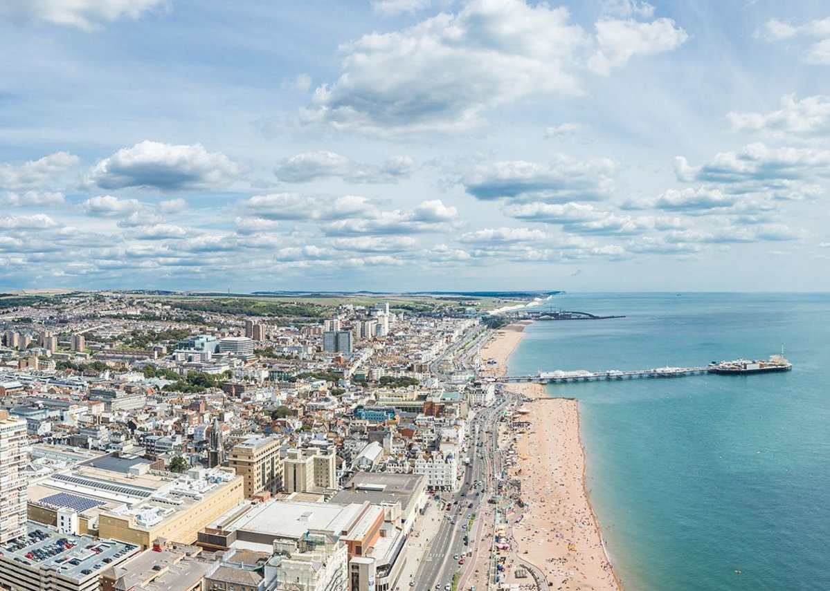 British Airways i360 view to east and city.