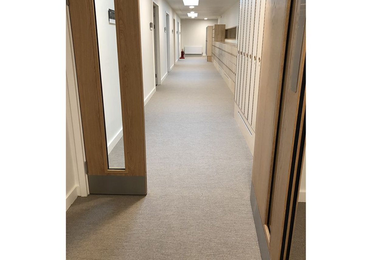 Sherborne Girls school, Dorset. Danfloor's Nordform Classic XL loop pile carpet and backing provides a class 33 wear classification, equivalent to heavy commercial use.