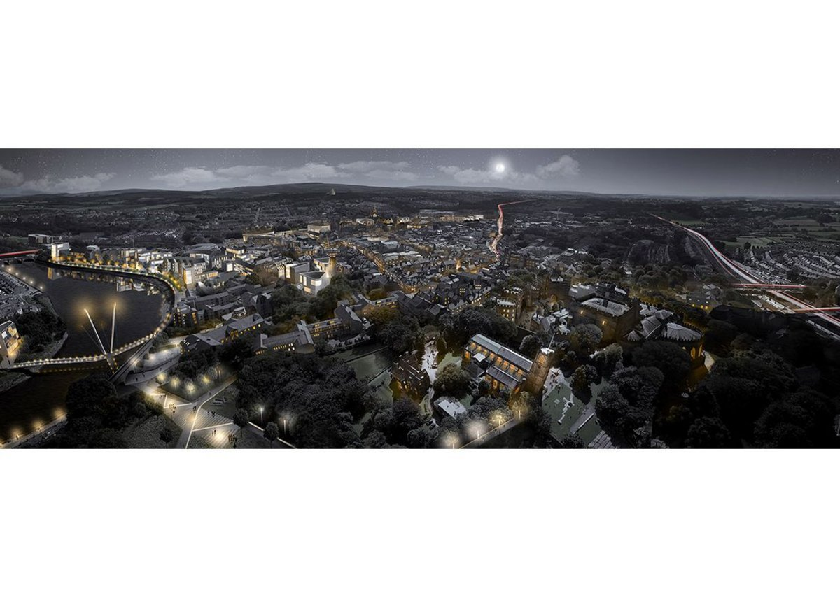 The big picture – regeneration masterplan for Lancaster, night view.