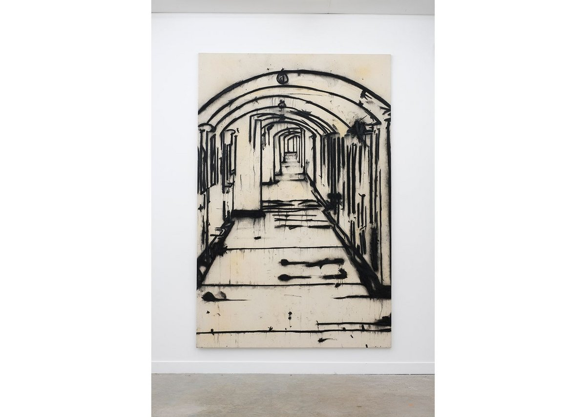 Corridor, Tony Bevan 1996, acrylic and charcoal on canvas,  274x 180cm, courtesy of Ben Brown Fine Arts, London.