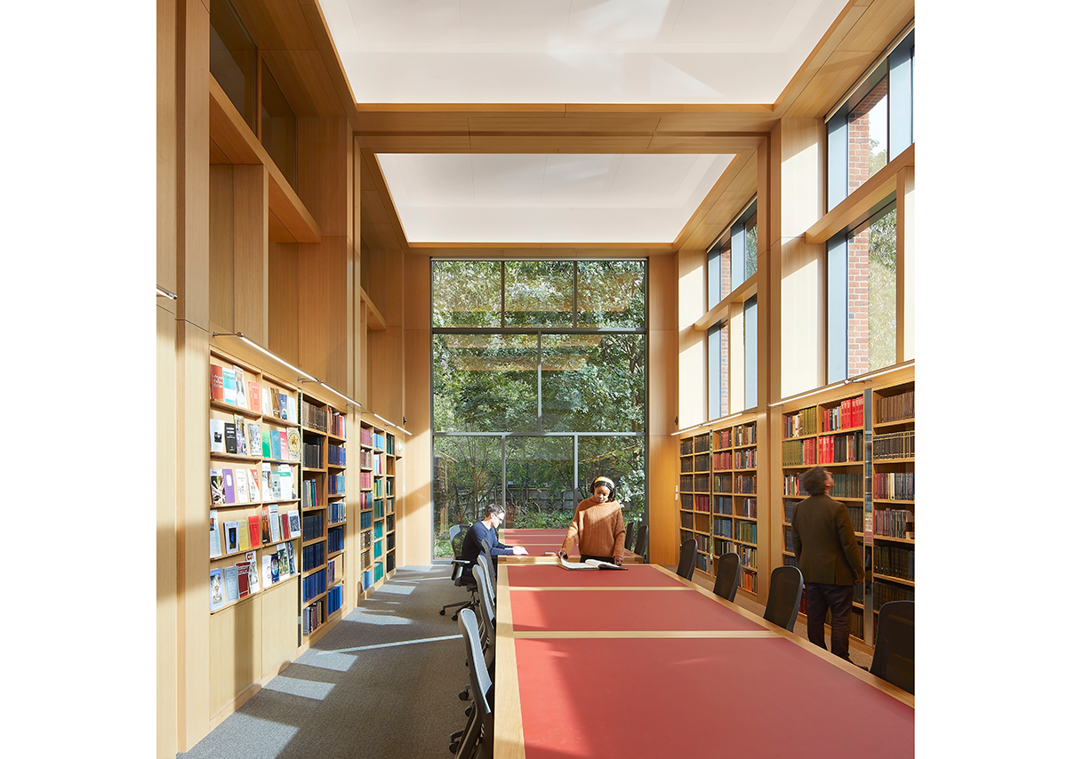 Well daylit reading room with end view to what will be a lush garden. Credit: Hufton + Crow
