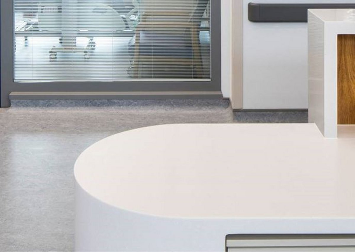 HI-MACS at Omagh Hospital: The acrylic stone surface does not absorb humidity, is highly resitant to stains, and is easy to clean, maintain and repair.