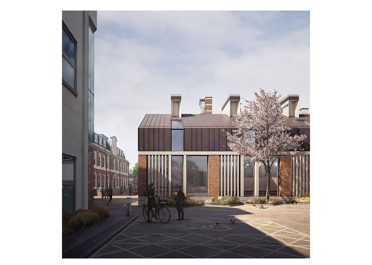 St Paul's Girls' School – the new staff hub building uses labyrinth cooling and natural stack ventilation.