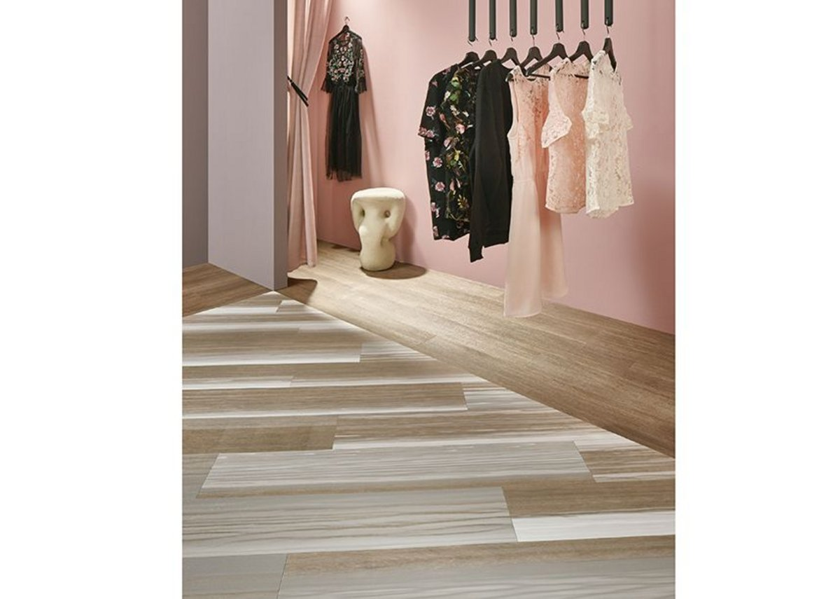 Forbo Allura Fusion vinyl tile flooring in wp60374 White Fused Oak and Allura Natural Collage Oak.