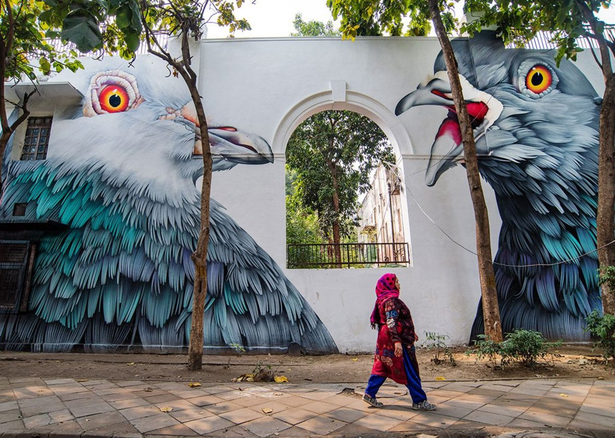 Adele Renault, Pigeons Street Art India Festival in Lodhi Colony, Delhi 2019.