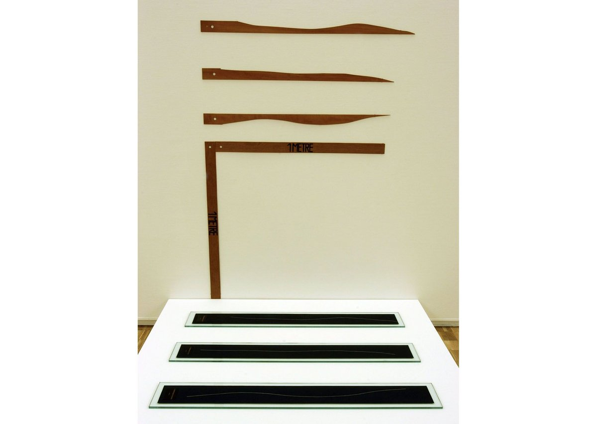 Marcel Duchamp's 'dropped' pieces of 1m long string form the subject of his 1913 artwork '3 Standard Stoppages'.
