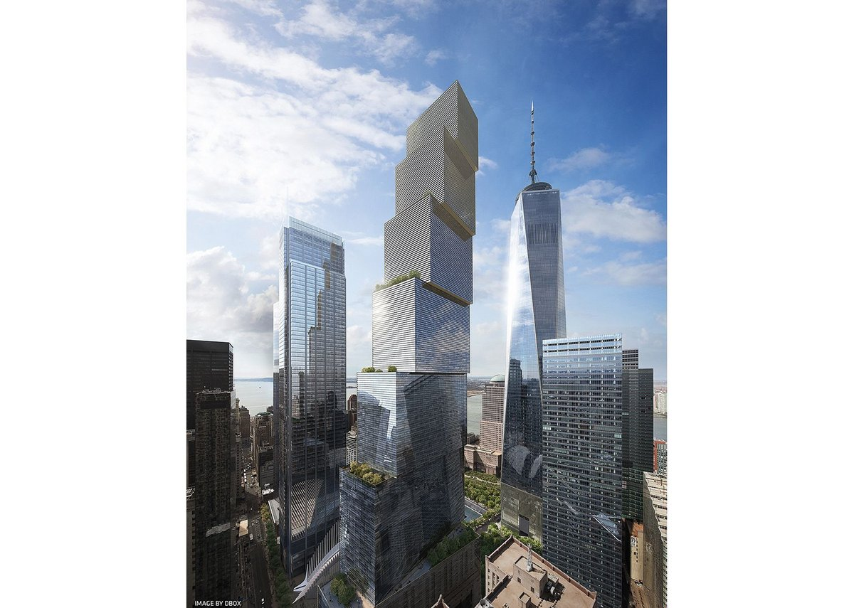 BIG's WTC 2 proposal; stacked boxes reflecting the client desire to create attractive rental space for finance, new media and entrepreneurs.