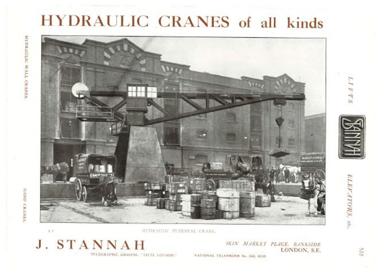 In the early days Stannah manufactured hydraulic cranes for London's Docklands, like this image in 1910.