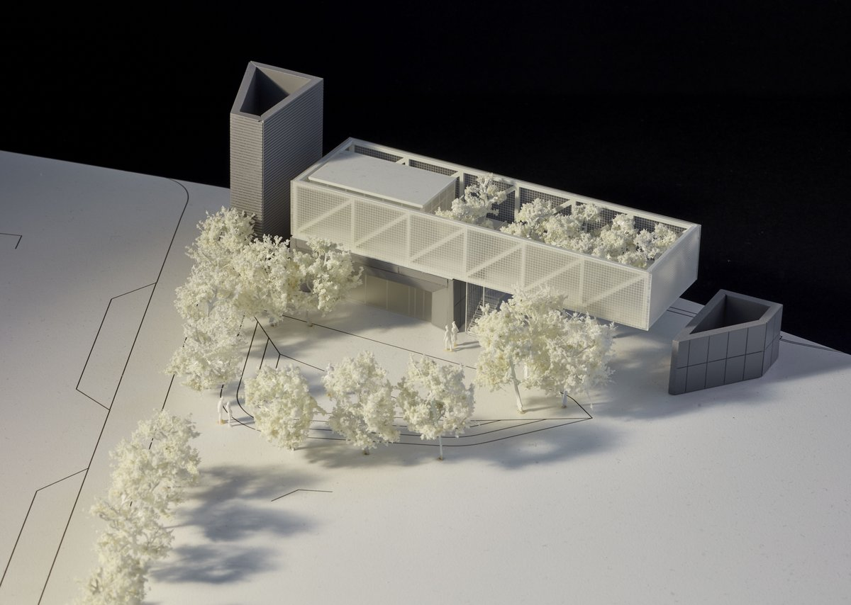 Study model for pavilion proposal showing key building block elements and expressed structural cantilever.