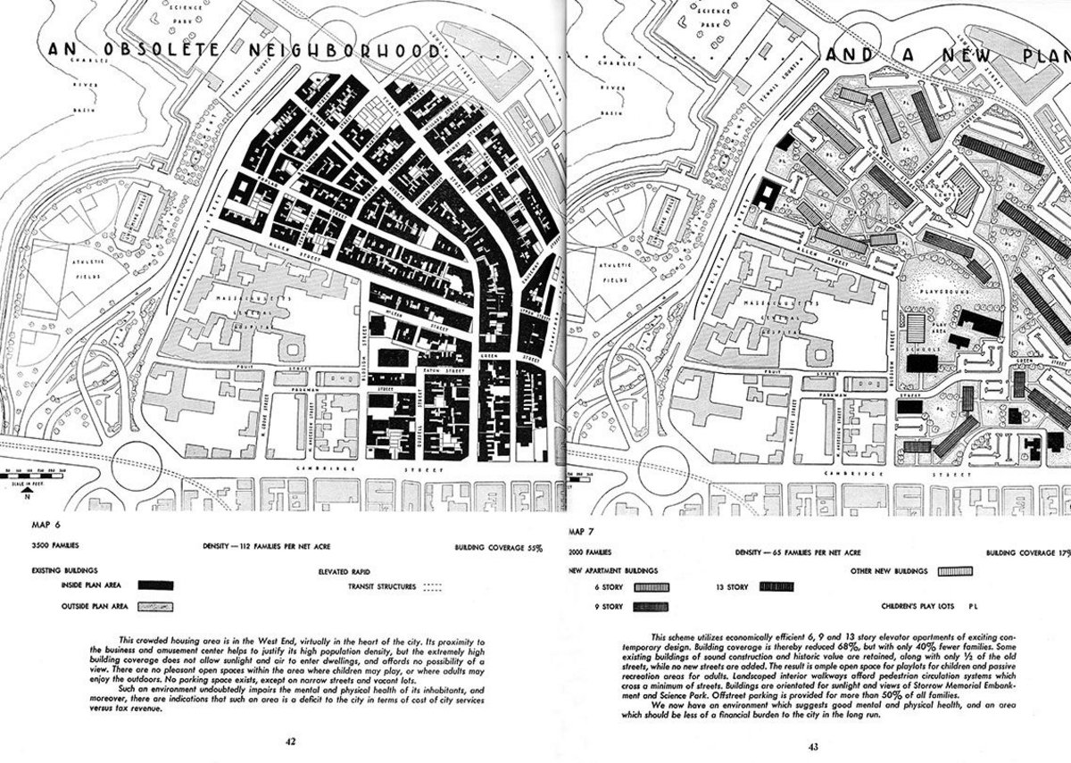 The 1951 Plan for Boston declared the city's West End over-dense and 'obsolete'. Ten years later the district was contentiously demolished.