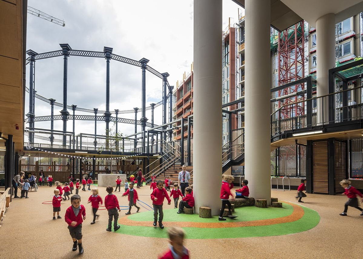 Across the playground towards Gasholder Park.