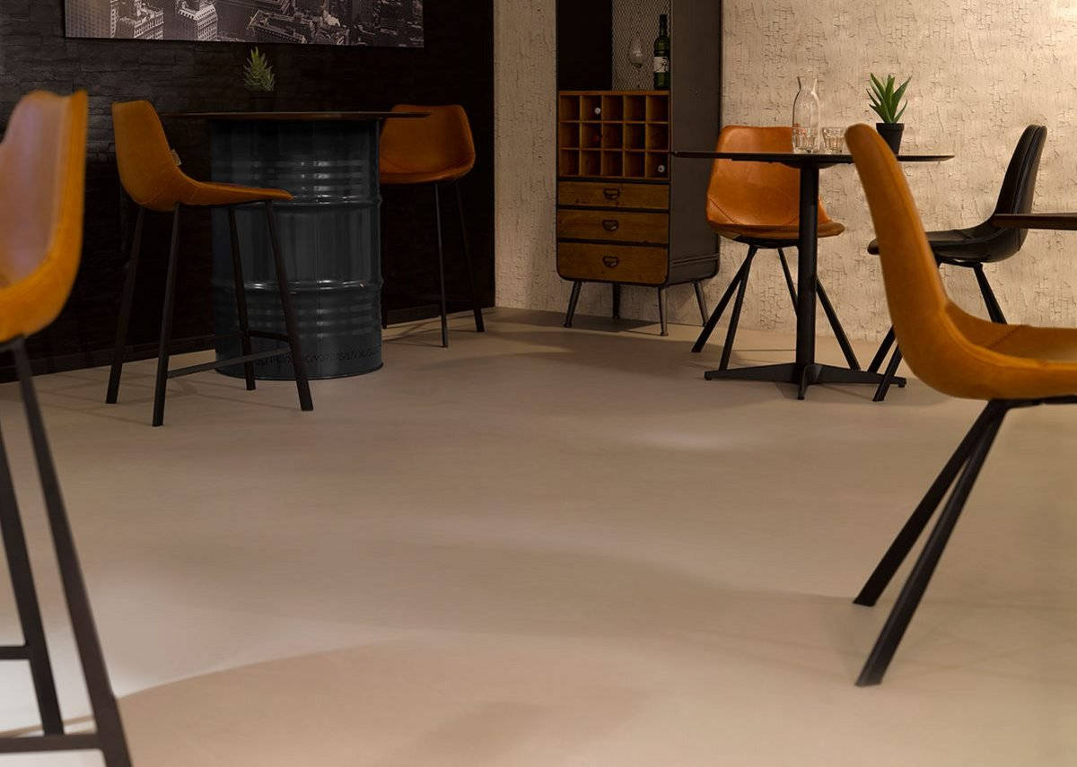 Arturo self-smoothing Concreta cementitious flooring has a natural look. It is dust free and easy to clean.