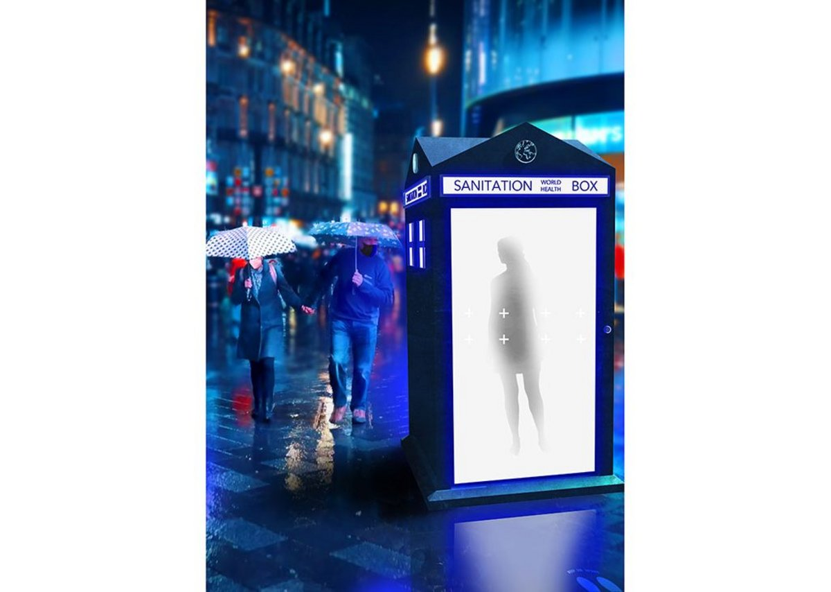 World Sanitation Box: A network of compact sanitation stations using UVC light to disinfect people on the go, creating a healthier world for tomorrow.