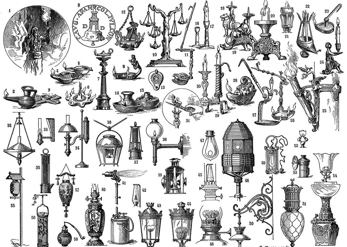 """Progress in lighting from antiquity to 1900. """"Eclairage,"""" Nouveau Larousse Illustré, vol. 4, Claude Augė, ed., (Paris: Libraire Larousse, 1900)"""