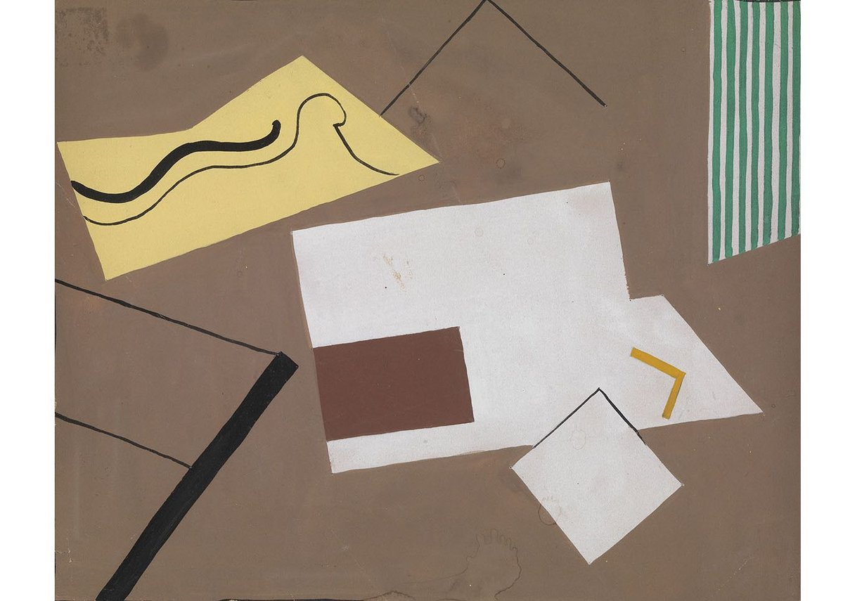 Eileen Gray, Untitled (Brown with green stripes), 1930. Gouache on paper, 20 x 25 cms.