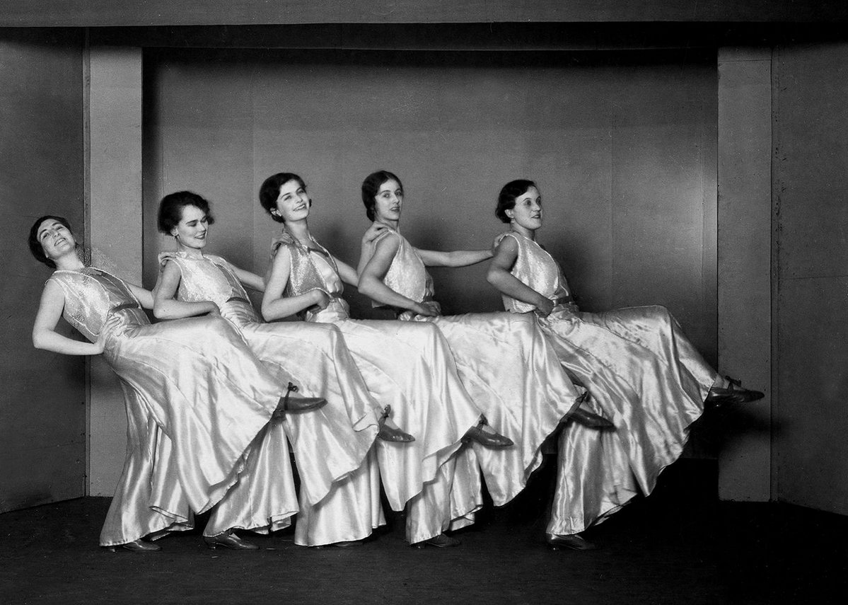 By 1930 they were having fun. Here's Mary Crowley, Carmen Dillon, Peggy Gick, Jill Muncaster and Betty Ellis in the AA panto.