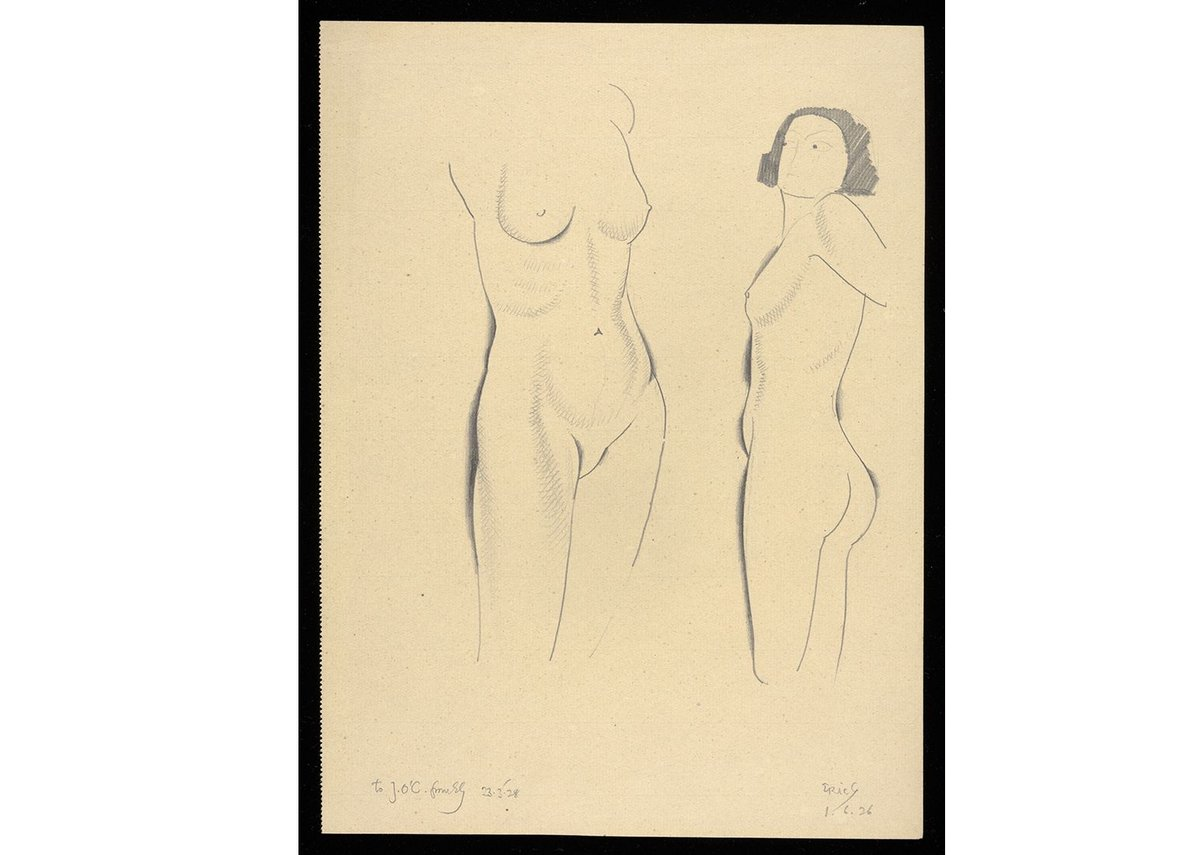 Eric Gill, Nude Studies, 1926. Pencil on Paper. Gill eschewed the use of outside models preferring to draw his friends and family members.