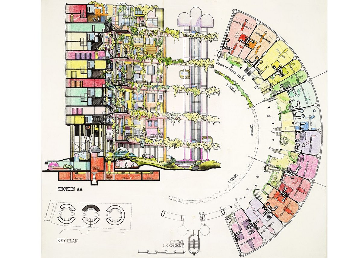 Competition design for housing on Roosevelt Island, New York, New York, sections and plan of a crescent-shaped block of flats, 1975.