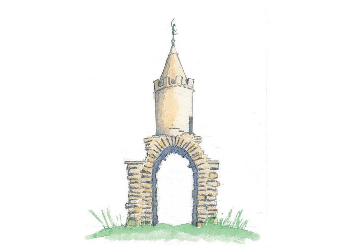 Jack the Treacle Eater, Yeovil, Somerset, Sketch, a gateway or boundary folly with mysterious origins. Sketch by Rory Fraser.