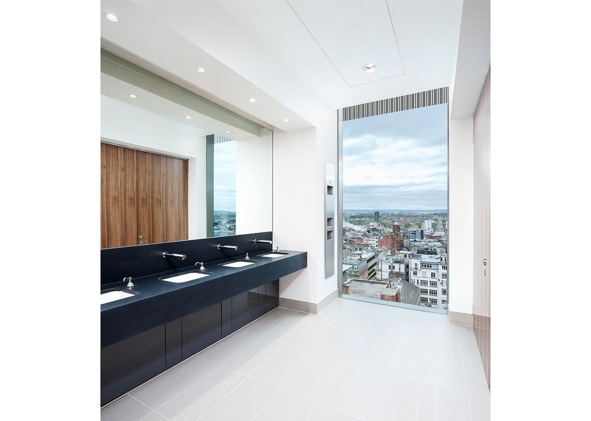 The toilets are pushed to the south elevation, giving incredible views at  upper levels.