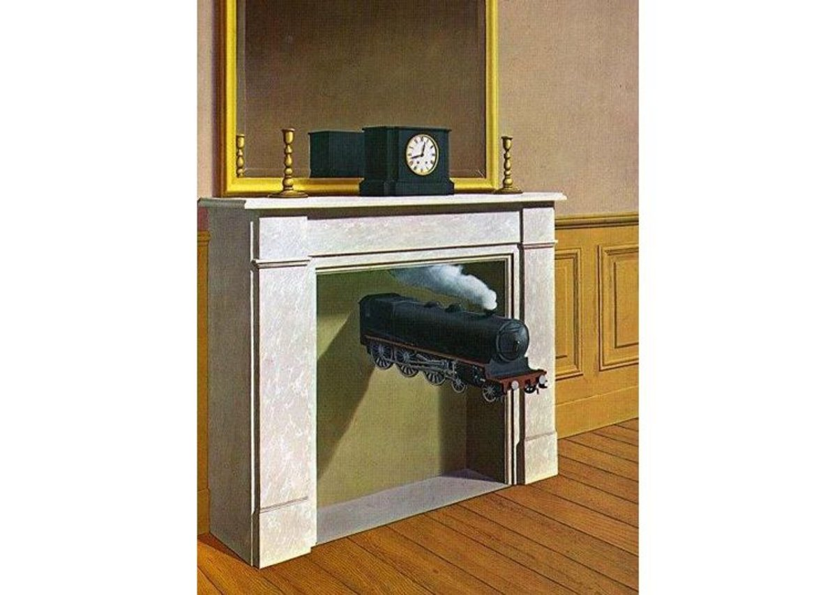 Magritte's 'Time Transfixed'. Time you fixed that fireplace, mate.