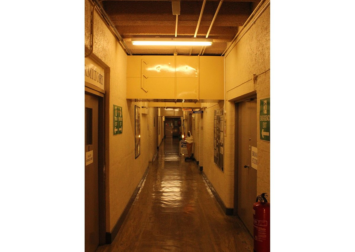 Typical circulation corridor at Scotland's Secret Bunker, Troywood, Fife.