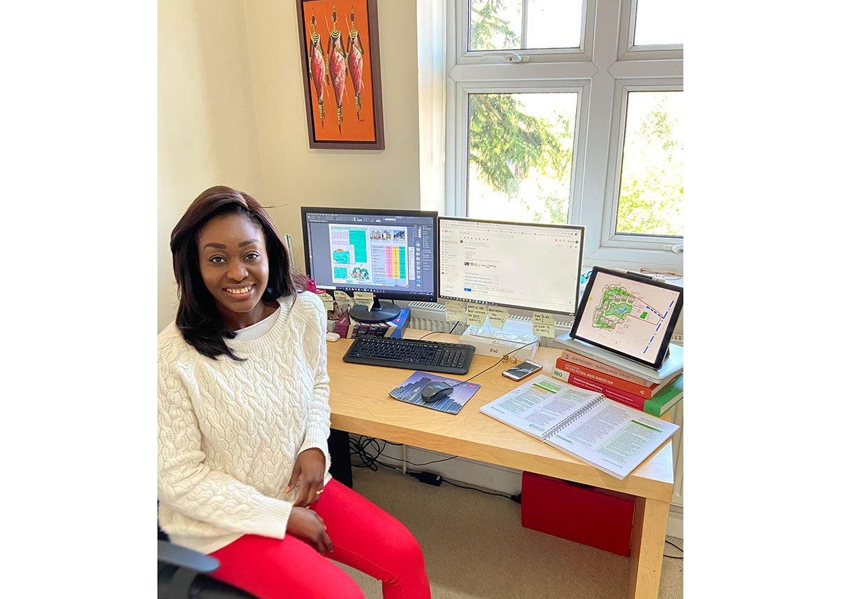 Tara Gbolade, co-director of Gbolade Design Studio, in her home office.