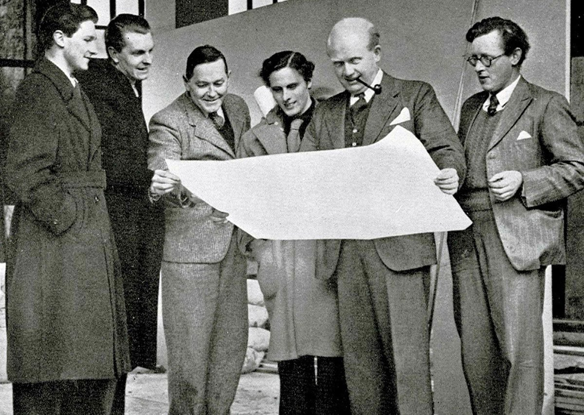 The Belfast Festival of Britain Team in 1951. Left to right: Ian Campbell, Max Clendinning, Denis O'Dee Hanna, Raymond Leith, JVT Scott and Philip Bell.