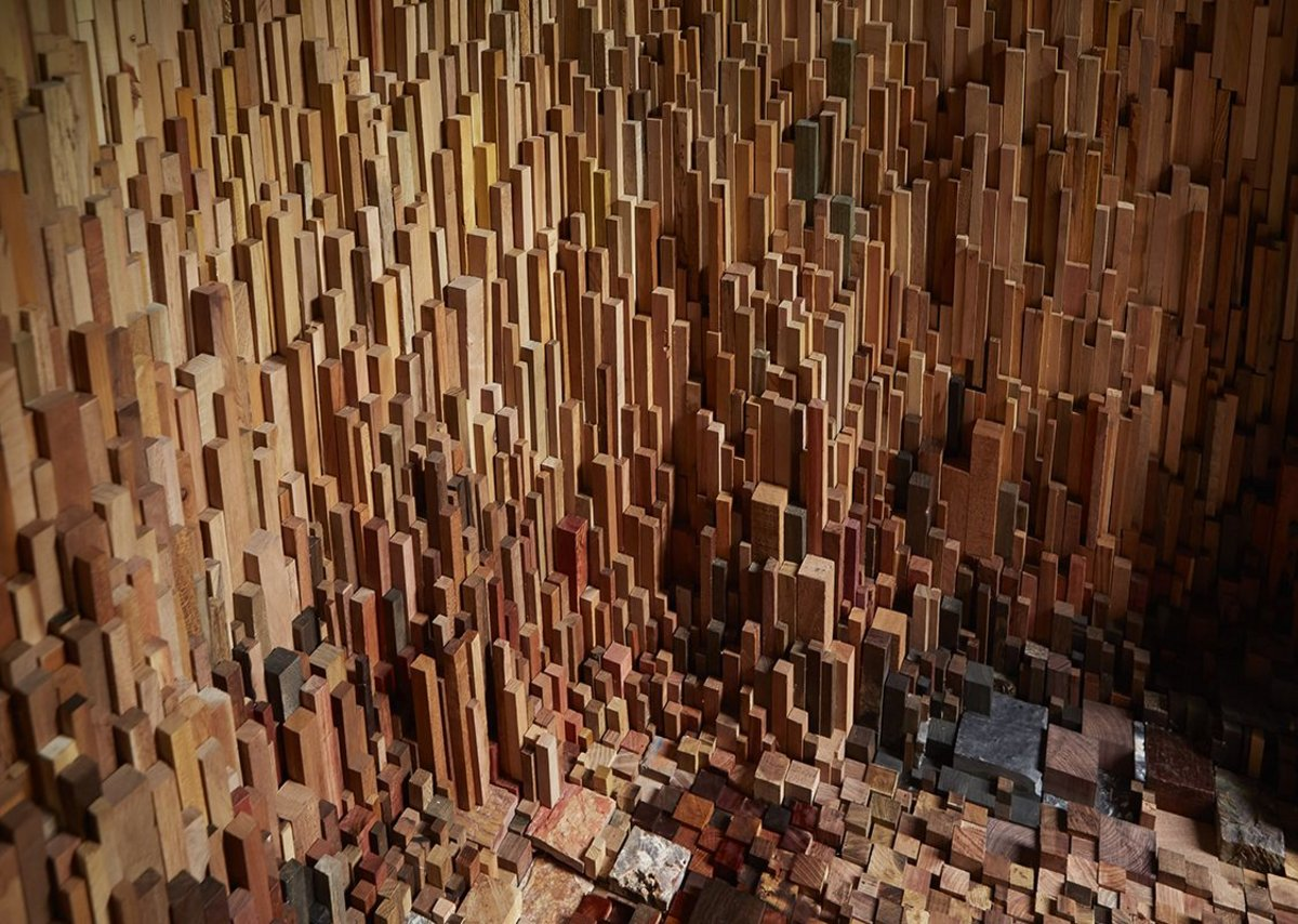 Interior of Hollow, an installation at the University of Bristol. The composition of the wood samples shows off the huge variation in colour.