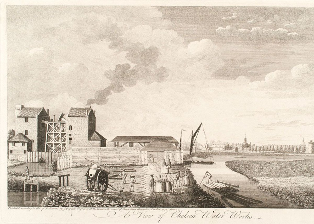 A View of Chelsea Water Works, 1752, John Boydell. (c) Museum of London The Chelsea Waterworks Company drew water from the Thames supplemented by the River Westbourne.