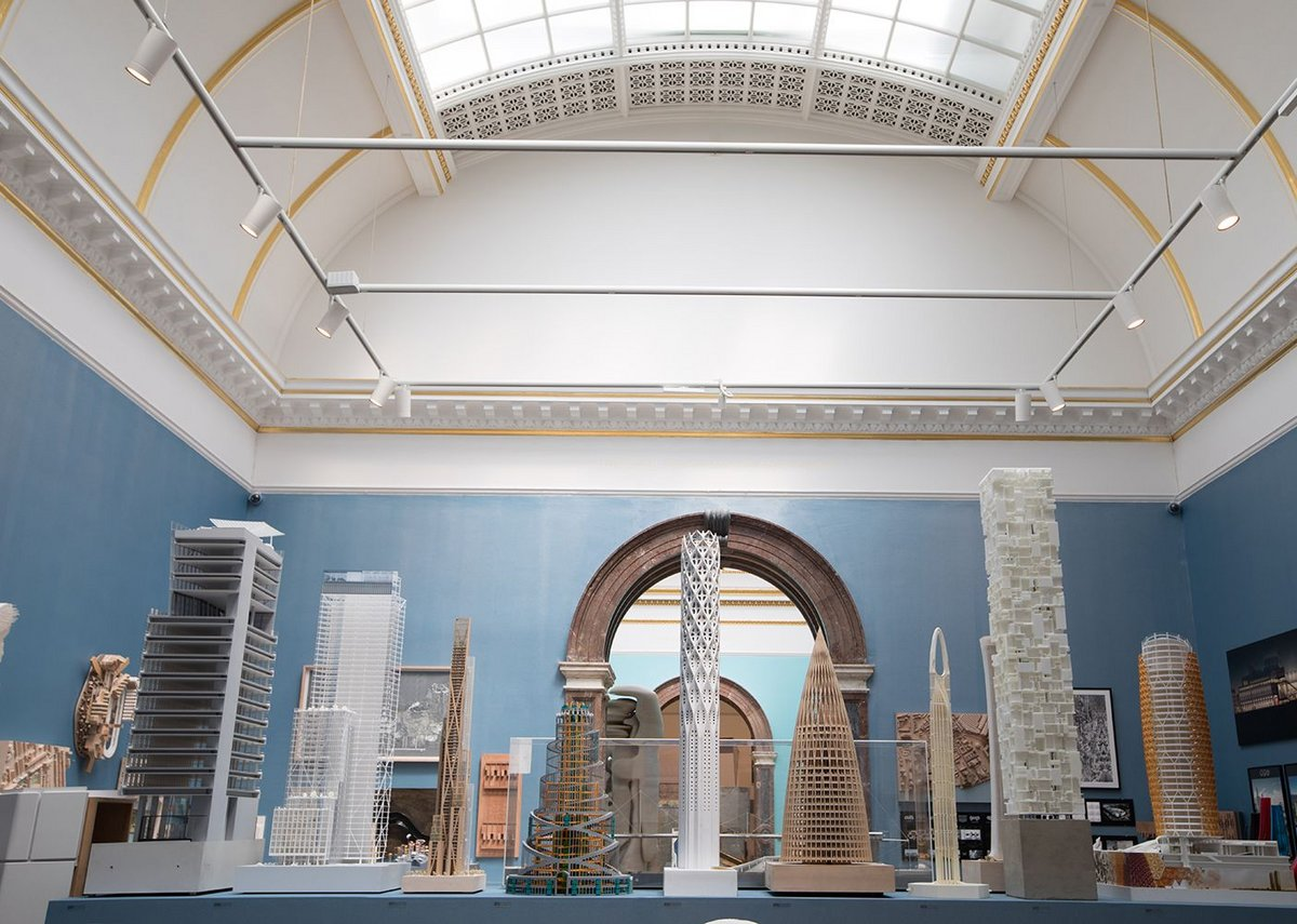 Models take centre stage in the architecture room within the Royal Academy Summer Exhibition 2018.
