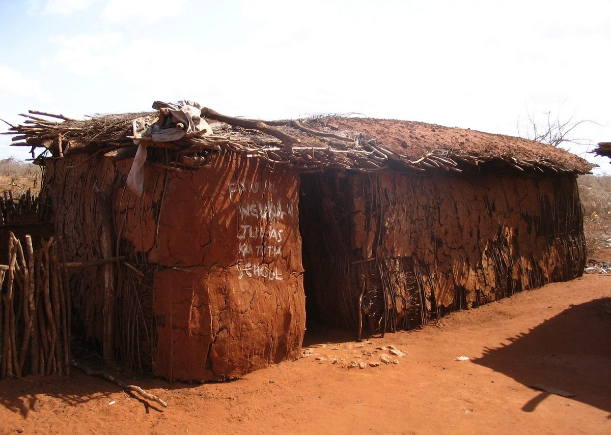 School in a Maasai village on the A109 road Kenya