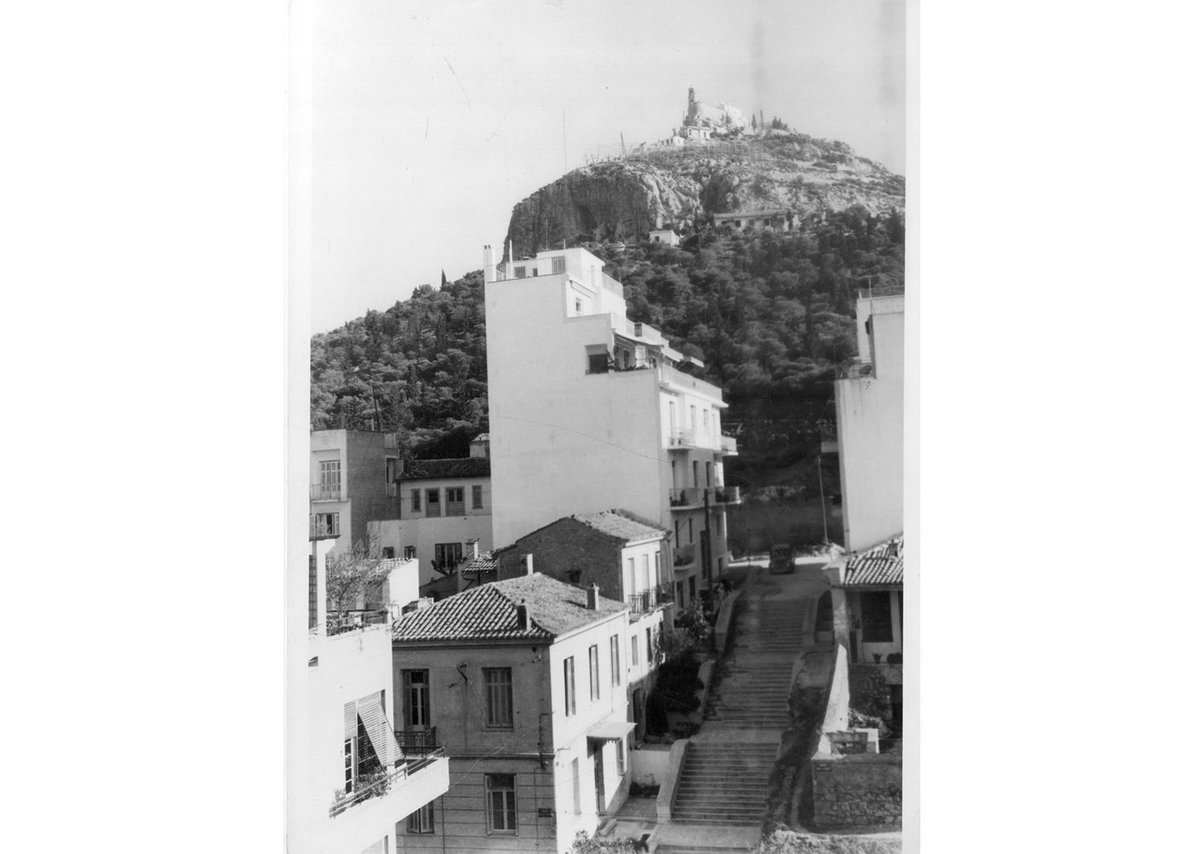 Lycabettus Hill, c1950, with, below, a typical street in the upper-middle class area of Kolonaki with neoclassical and early 19th century domestic buildings, just starting to be developed with new polykatoikia.