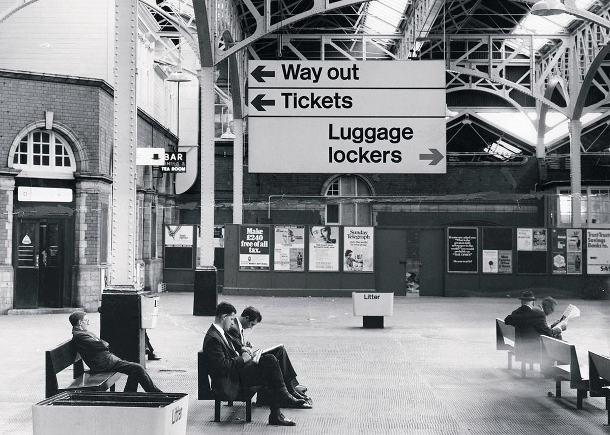 Paddington Station featuring Rail Alphabet, from the Margaret Calvert - Woman at Work exhibition at the Design Museum