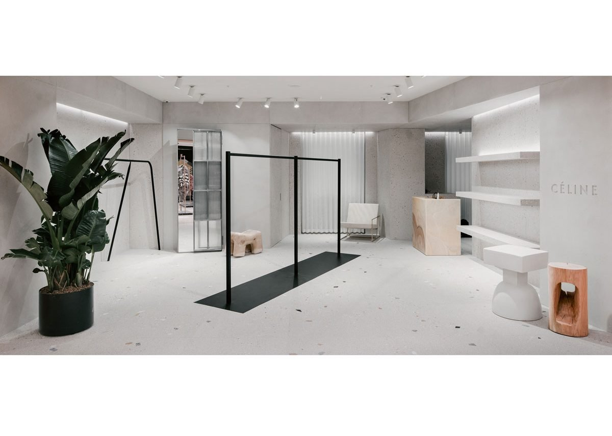 The Celine outlet in Rome's La Rinascente department store features terrazzo finishes and resin shelves.